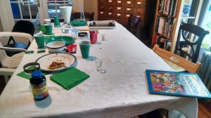 Remnants on the dining table.