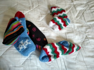 Sleep sock collection. Storing place: bed